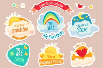 9款彩色爱心元素贴纸矢量图