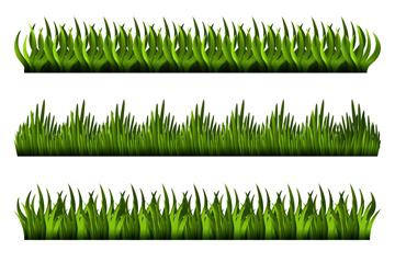 4款深绿草丛设计矢量素材
