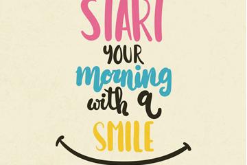 创意从微笑开始你的早晨艺术字矢