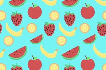美味草莓香蕉苹果橙子无缝背景矢