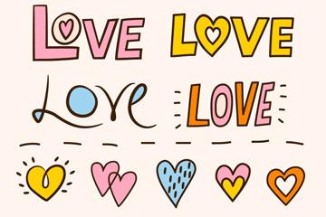 10款彩绘爱的艺术字和爱心矢量图