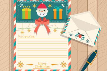 彩色圣诞信纸和信封矢量图