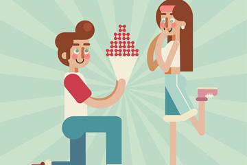 卡通送玫瑰花束的求婚情侣矢量素材
