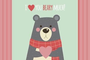可爱熊爱的卡片矢量素材