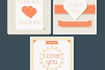 3款创意爱的卡片矢量素材