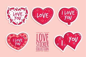 8款红色爱的贴纸矢量素材