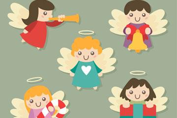 5款可爱圣诞节天使矢量图
