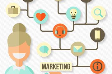 扁平化女子和市场营销元素图标矢量图