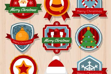 9款彩色圣诞节祝福标签矢量图