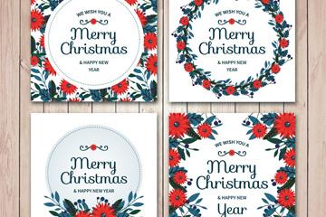 4款红色花卉圣诞节方形贺卡矢量