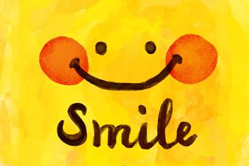可爱红脸蛋黄色笑脸矢量素材