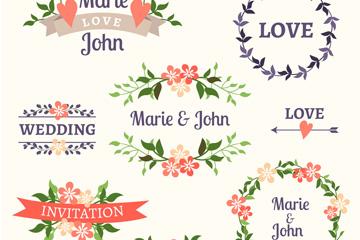 8款彩色婚礼花卉标签矢量图