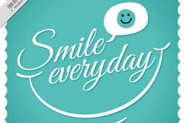 创意微笑每一天艺术字矢量图