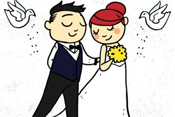 彩绘婚礼新人和白鸽矢量素材