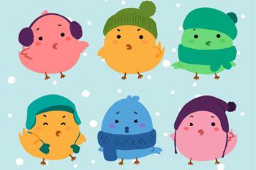6款卡通冬装小鸟矢量图