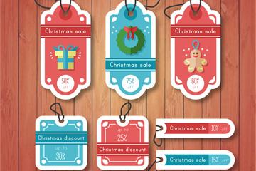7款扁平化圣诞节促销吊牌矢量图