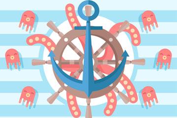 可爱船舵和章鱼矢量素材