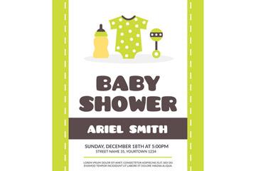 可爱绿色迎婴派对海报矢量图