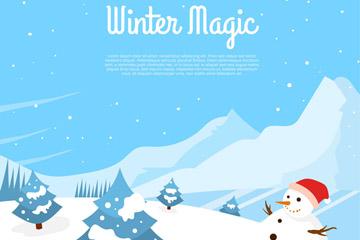 冬季雪山和雪人风景矢量素材