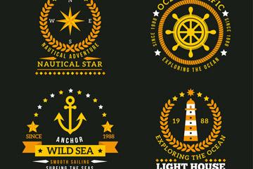 4款金色航海徽章矢量图