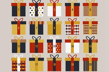 25个创意礼盒圣诞月月历矢量图