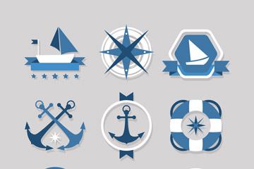 9款蓝色航海标签矢量素材