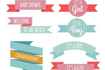 9款彩色迎婴派对条幅矢量素材