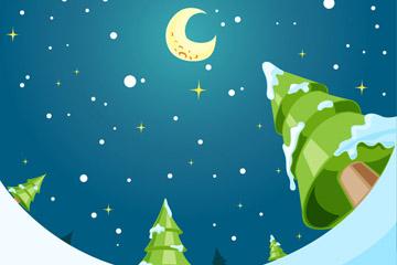 创意雪地和松树夜空仰视图矢量素