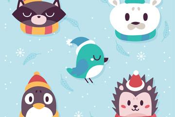 5款可爱冬季动物头像矢量图