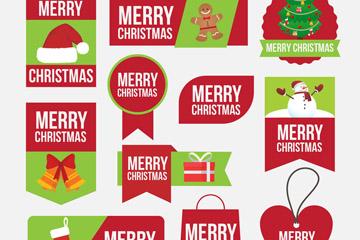 11款创意圣诞快乐标签矢量图