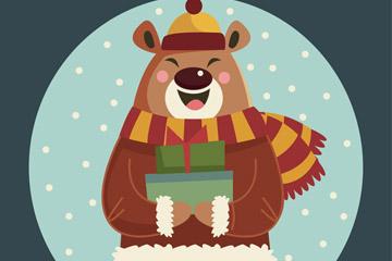 可爱冬季抱礼品的熊矢量素材