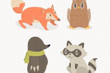 狐狸浣熊等4种卡通动物设计矢量