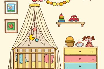 彩绘温馨婴儿房设计矢量素材