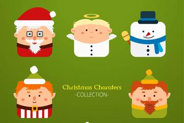 8款方形创意圣诞角色矢量素材