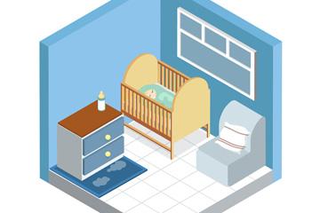 立体婴儿房设计矢量素材