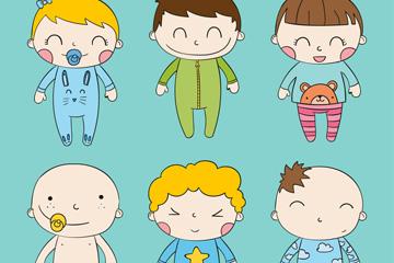 6款彩绘笑脸婴儿形象矢量素材