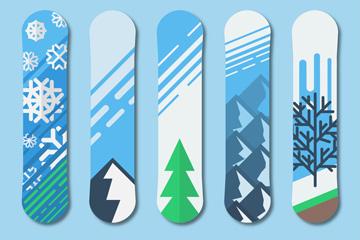 5款彩色冬季�D案�伟寤�雪板矢量�D