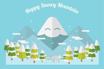 扁平化雪山树林风景和狼矢量素材