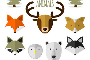 7款扁平化森林动物头像矢量图