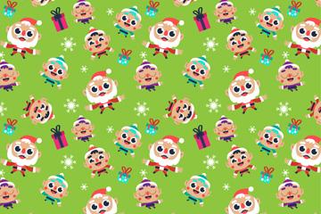 可爱大眼睛圣诞老人和孩子无缝背