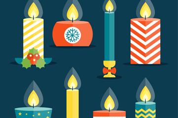 8款彩色节日蜡烛矢量素材