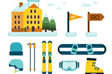 10款扁平化滑雪�b�湓�素矢量素材