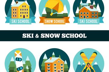 6款彩色滑雪学校标签矢量图