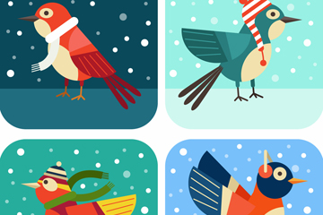 4款冬季卡通雪地鸟类矢量素材