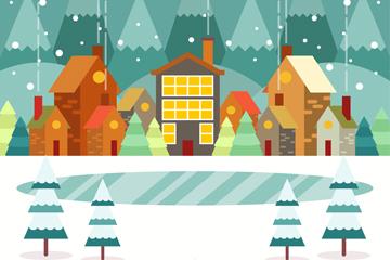 冬季雪中小城建筑和湖泊矢量图