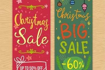红绿2款彩绘圣诞促销banner矢量