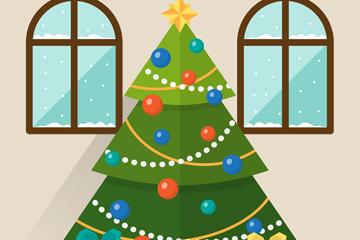 扁平化客厅里的圣诞树矢量素材