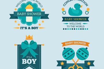 4款蓝色迎婴派对标签矢量图