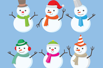 6款卡通冬装雪人设计矢量素材