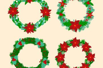 4款绿色圣诞花环矢量素材